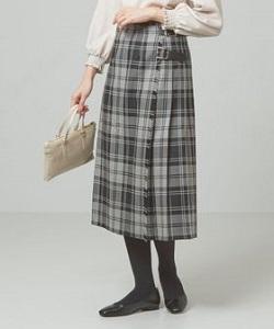 Wプリーツ キルトスカート
