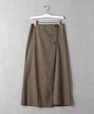 チェックフロントボタンラップスカート